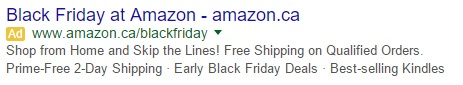 Wouldn't you be disappointed if you clicked this ad and didn't land on a page with Black Friday deals?