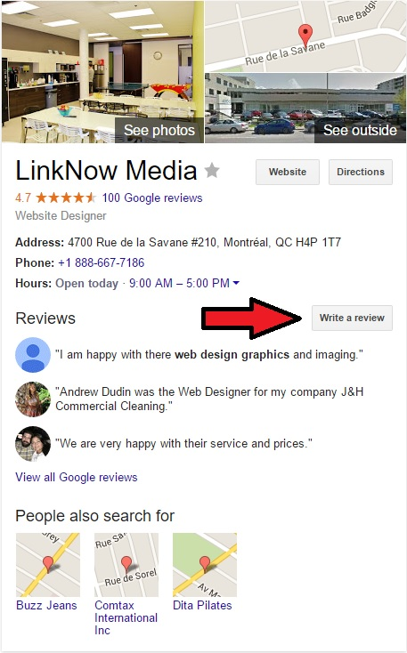 """The """"Write a review"""" button is on the right side of the search results."""