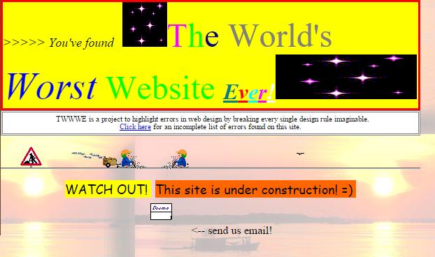 Screenshot of the world's worst website