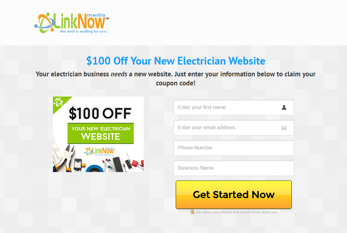 LinkNow Media landing page