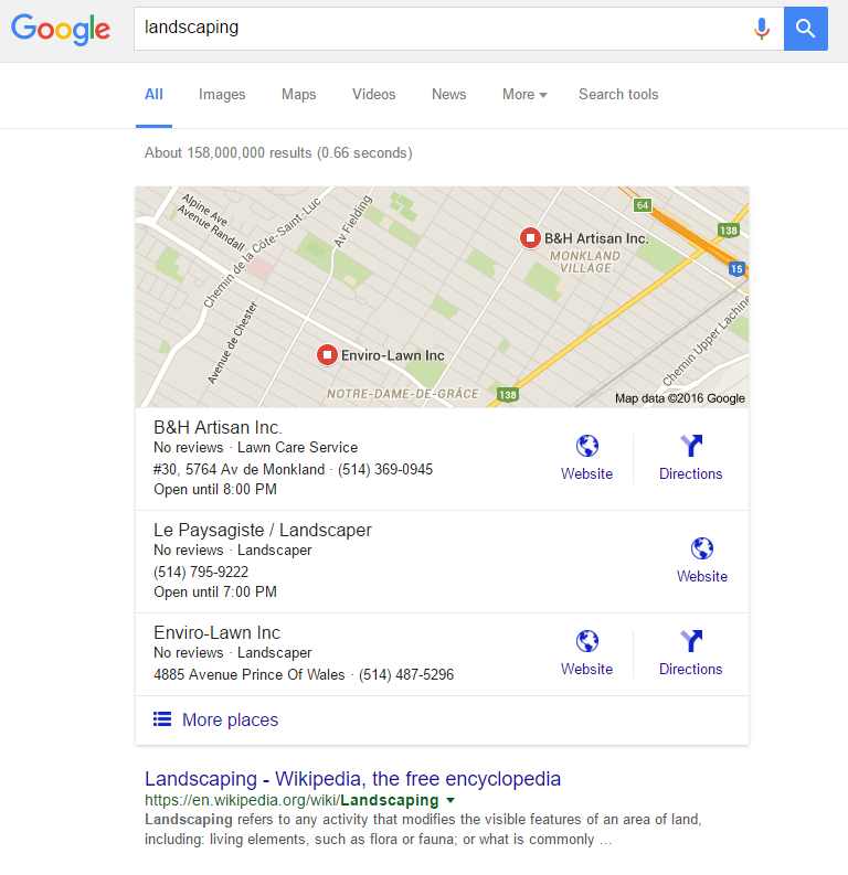 Screenshot displaying Google's 3-pack result for a local search