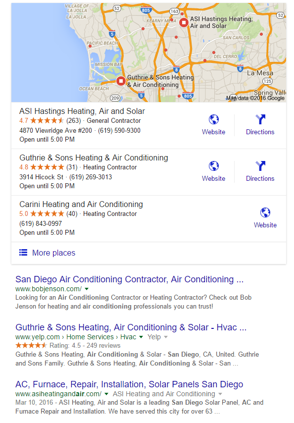 "Google results for ""air conditioning san diego"""