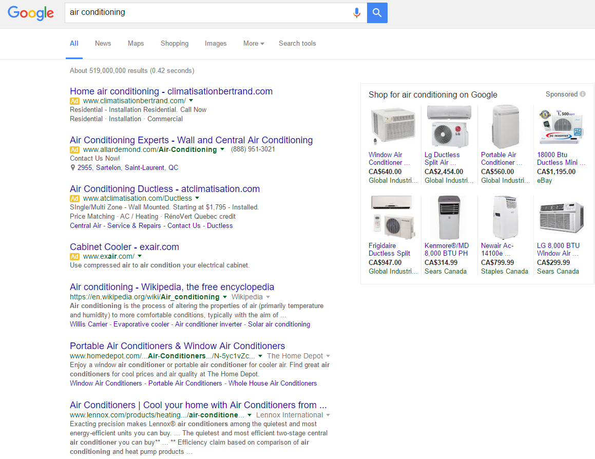 Google AdWords example