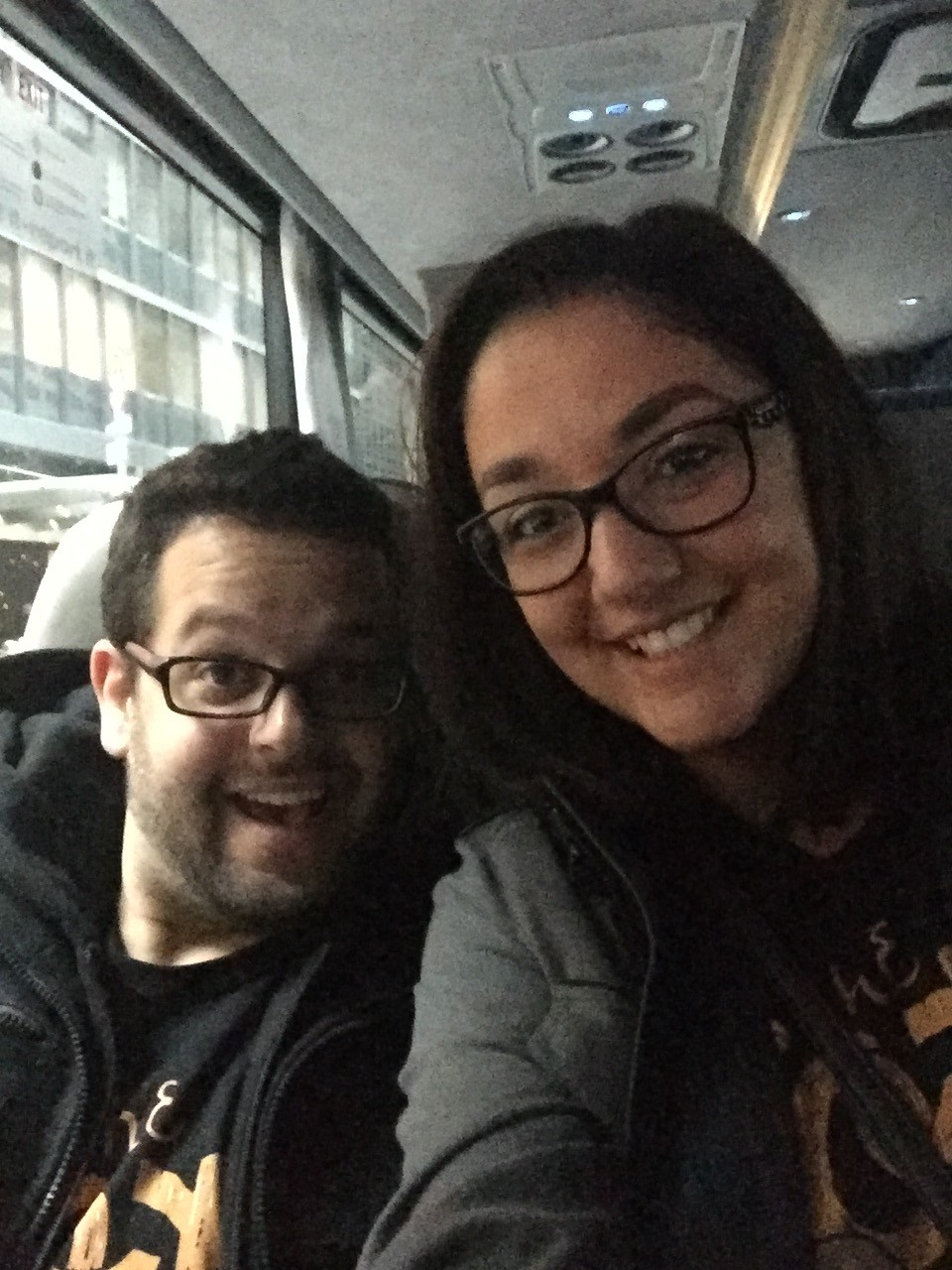 Eve and Andrew on the shuttle