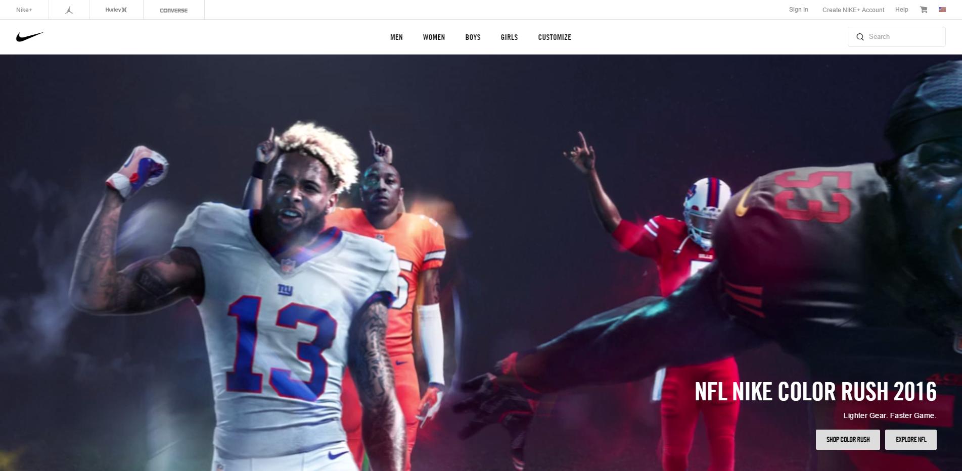 Nike's homepae