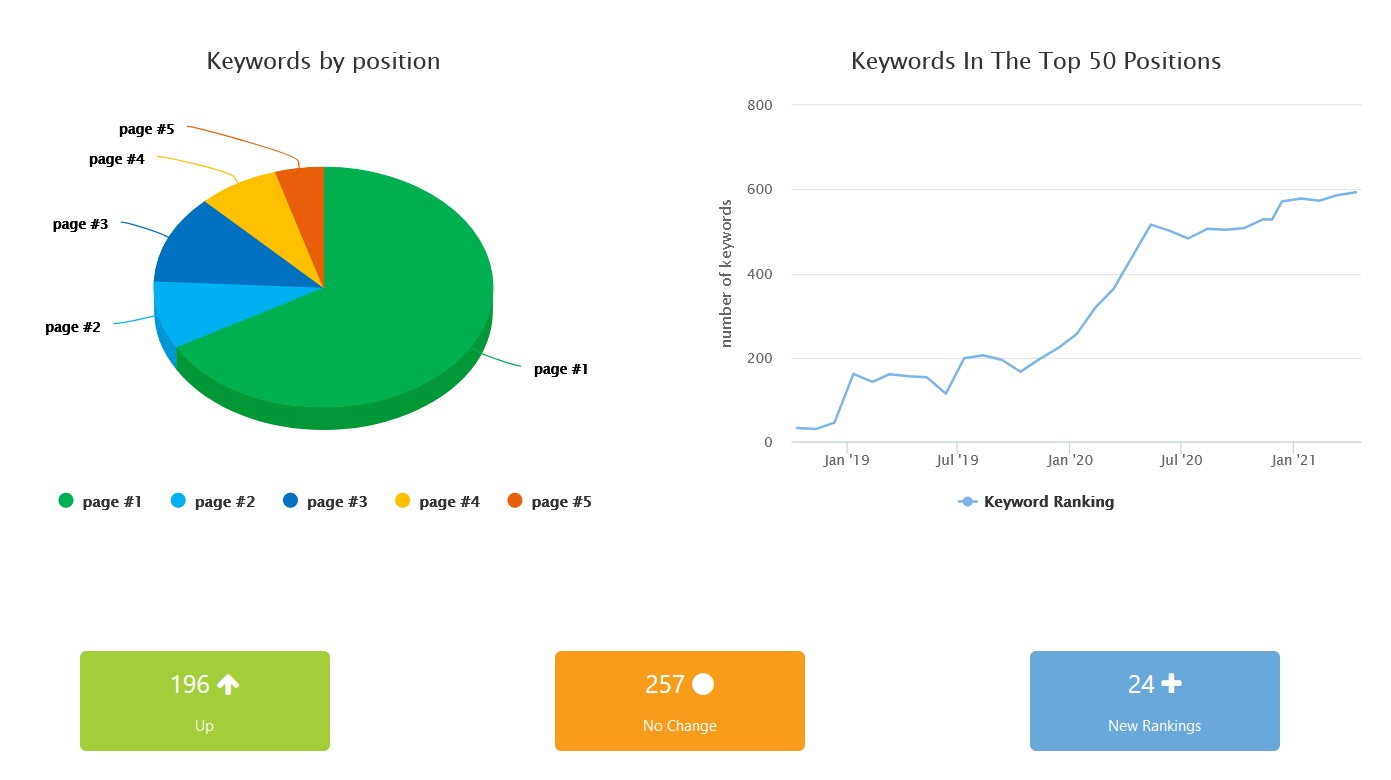 Sample page of ranking report showing keywords by position and keywords in top 50 positions over time.