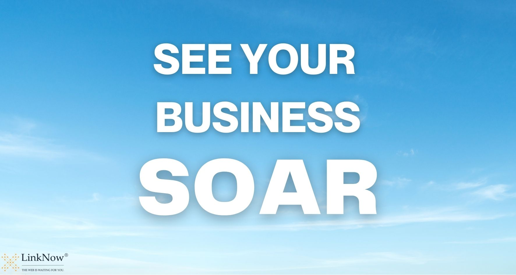 Sky background with text: See your business soar.