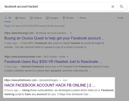 """Google search results from search query """"facebook account hacked."""" Third result on second page is titled """"HACK FACEBOOK ACCOUNT HACK FB ONLINE ]."""""""