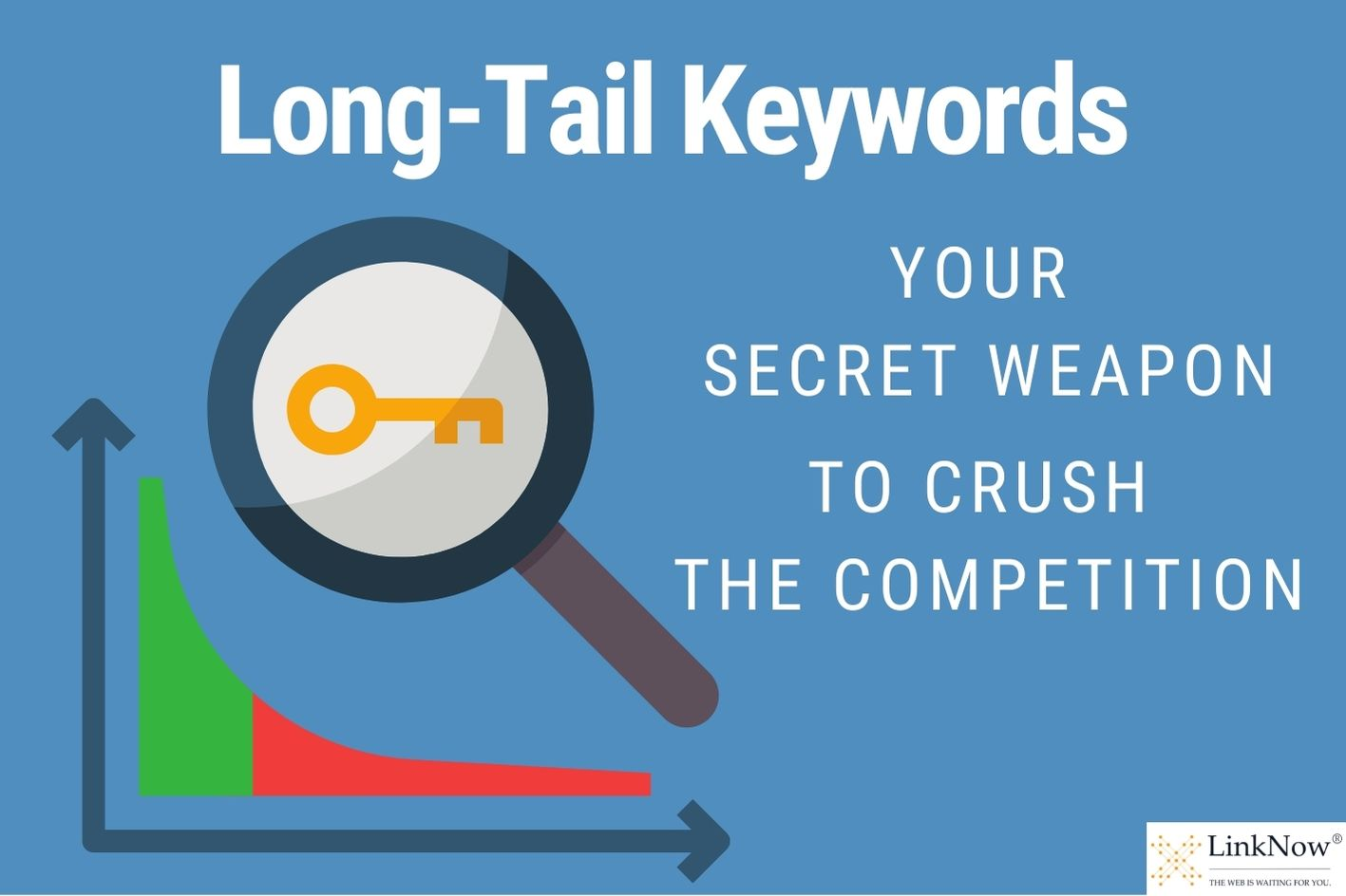 Image of a graph and a magnifying glass focused on a key. Text says: Long-tail keywords: Your secret weapon to crush the competition.
